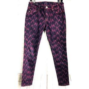 Vigoss Magenta Chevron Print Skinny Jeans Size 29
